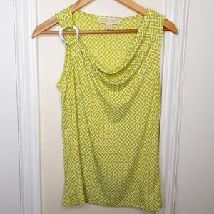 Michael Kors Green and White Tank Top Blouse